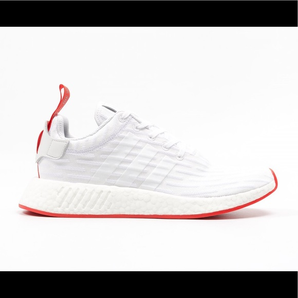 08b0ad93bb15b NIB Adidas NMD R2 BA7253 White Red Mens Sneakers